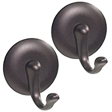 InterDesign AFFIXX Peel-and-Stick Strong Self-Adhesive Storage Hooks for Office, Kitchen, Entryway - Pack of 2, Medium, Bronze