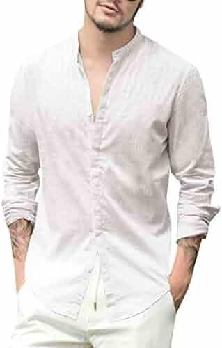 c17c4ddc Mens Linen Beach Shirts Long Sleeve Casual Cotton Summer Button Up  Lightweight Tops