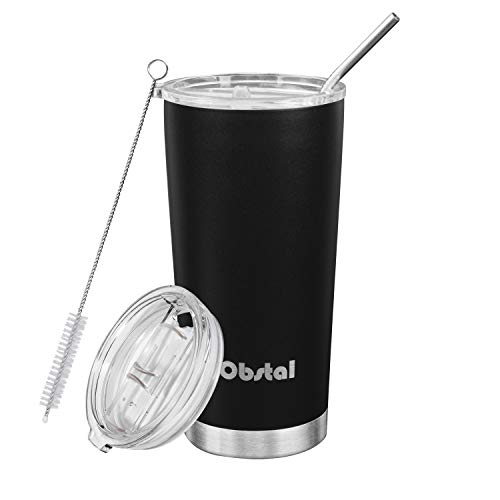 Obstal 20 oz Stainless Steel Insulated Tumbler – Double Wall Vacuum Travel Mug for Coffee with Straw, Slider Lid, Cleaning Brush, Black