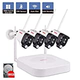 Tonton 4CH Wireless Network Video Recorder Security System, with 4PCS 2 Megapixel Waterproof Metal Casing Bullet Cameras, PIR Sensor, Audio and Video , Built in IR CUT LEDs Night Vision, 500GB Hard Drive included
