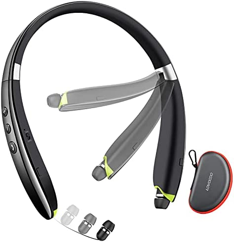 Bluetooth Headphones, LOVOCOO [2021 Upgraded] Neckband Bluetooth Headset with Retractable Earbuds, Noise Cancelling Stereo Wireless Earphones with Mic for Sports Office (with Carry Case)