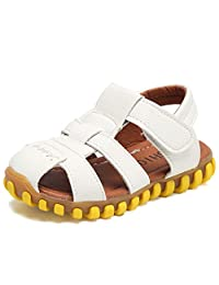 WALUCAN Boys' Open-Toe/Closed-Toe Leather Outdoor Sport Casual Sandals(Toddler/Little Kid)