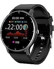 Zodvboz Relógio Inteligente Masculino Desportivo, IP67 à Prova d'água, Rastreador de Atividades com Monitor de Frequência Cardíaca, Tela Sensível ao Toque, Pulseira de Silicone Homens Smartwatch Chamada de bluetooth, para iOS, Android, Preto