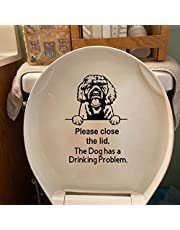 Toilet Lid Dog Stickers Decals, Please Close The Lid The Dog Has a Drinking Problem Toilet Decals, Detachable Prompt Artifact Toilet Bowl Sign, Toilet Bathroom Seat Reminder Vinyl Sticker Sign (B)