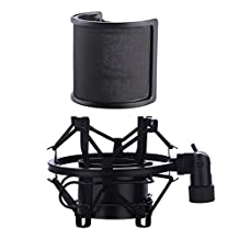 Universal Microphone Shock Mount with Pop Filter, Mic Anti-vibration Suspension Shock Mount Holder Clip for Diameter 46mm-53mm Microphone (black-2)