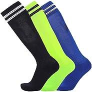 Youth 3 Pack Soccer Socks Over The Calf Compression Sport Socks for Girls Boys