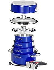 Magma 10 Piece Gourmet Nesting Cobalt Blue Stainless Steel Cookware Set