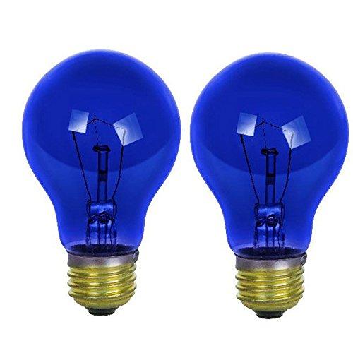 Base Incandescent Light Bulb Carded - Sunlite 25A/TB/CD2 Incandescent 25-Watt, Medium Based, A19 Colored Bulb, Transparent Blue, Carded 2-Pack