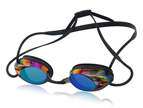 BESYL Adult Athletics Plating Swimming Goggles Pro Performance UV Protection Anti-Fog Swim Glasses - Black