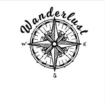 Brújula Etiqueta de la pared Wanderlust Travel Compass Rose ...