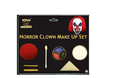 Ladies Mens Halloween Claw Horns SFX Kit Gloves Paint Mask Cape Makeup Latex Blood Wig Accessories (Horror Clown Makeup)]()