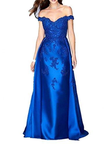 Royal Promkleider Etuikleider Spitze Glamout Ausschnitt V Damen Charmant Lang Abendkleider Blau Partykleider v8gUq