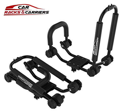 RoofTop Universal Kayak Carrier Car Roof Rack Set of Two J-Shape Foldable Carrier for Canoe, SUP and Kayaks Mounted on Your SUV, Car Crossbar by RoofTop