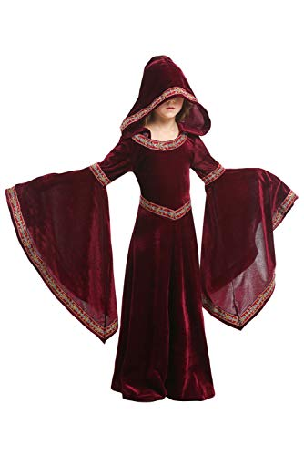 Dark Paradise Womens Kids Girls Medieval Renaissance Dress Costume Halloween Cosplay Hooded Robe Gown 4-12T Red ()