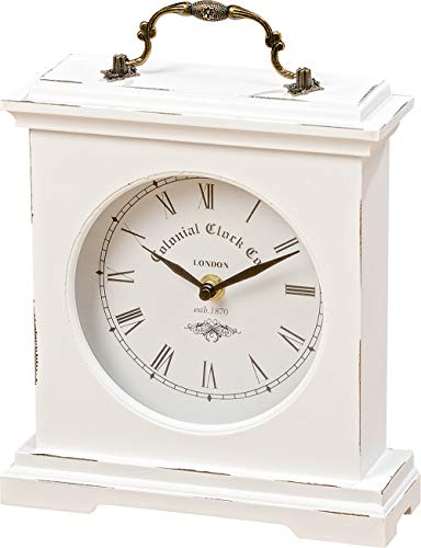 (WHW Whole House Worlds Iconic Colonial Mantel Clock, Roman Numerals, Vintage Style, Glass, White, Distressed Finish, Wood, Metal, 8 1/4 L x 2 1/2 W x 9 1/2 H Inches, 1AA Battery (Not Included))