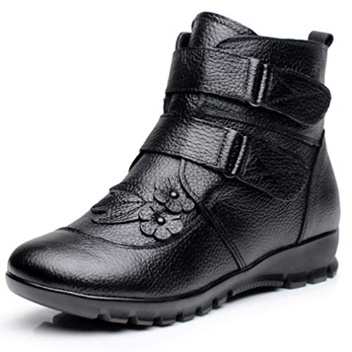 Ladies Ankle Boots Winter Genuine Leather for Women Flat Flower Waterproof Warm Cow Leather Short Snow Boots Black