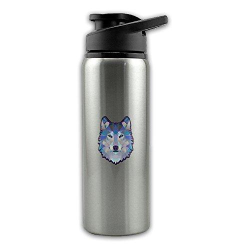 Lattice Bottle - Lattice Geometric Diamond Wolf Animals Stainless Steel Layer Sports Water Bottle With Wide Mouth 24oz