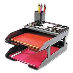 Corporate Desk Tray Set, Two Tier, Plastic, Metallic Black, Sold as 1 Each