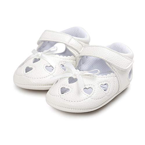 Meckior Infant Baby Girls Sandas Summer Soft Leather No-Slip Princess Shoes (0-6 Months, A-White)