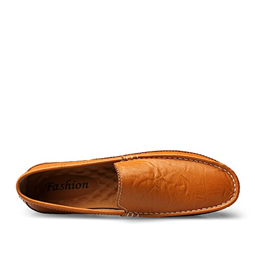 Mocasines Carve Vamp Oxfords Hollow Genuino de Slip Hombres Bullock Cuero conducción Patrones los Brown en Mocasines de Suela de w6Ur4xXwq