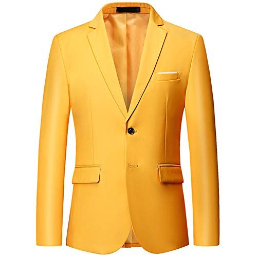 Mens Slim Fit Blazer Jacket Two-Button Notched Lapel Casual Suit Jacket