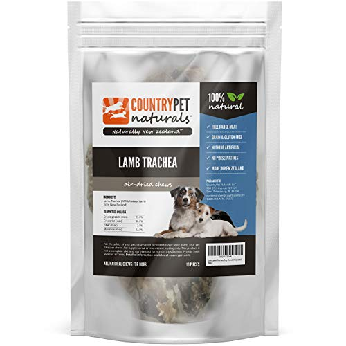CountryPet Naturals Lamb Trachea Chews for Dogs (10 Count) – Air Dried, Healthy Snack and Training Reward – 100% Natural, Grain Free, Gluten Free, Single Ingredient – Made in New Zealand