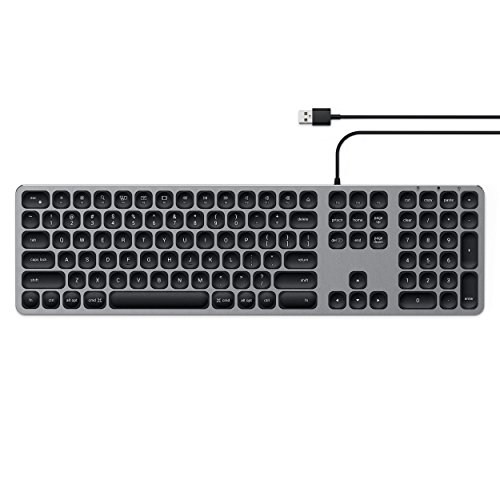 (Satechi Aluminum USB Wired Keyboard with Numeric Keypad - Compatible with iMac Pro, iMac, 2018 Mac Mini, 2018 MacBook Pro/Air and MacOS Devices (English, Space Gray))