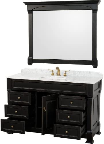 Wyndham Collection Andover 55 inch Single Bathroom Vanity in Black, White Carrara Marble Countertop, Undermount Oval Sink, and 50 inch Mirror