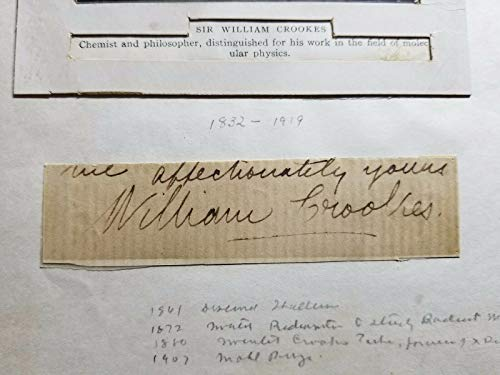 """RARE!""""Crookes Tube Inventor"""" Sir William Crookes Hand Signed 3.75x1 Mueller COA from Unknown"""