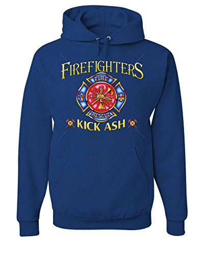 Firefighters Kick Ash Hoodie Volunteer FD Fire Rescue Sweatshirt Royal Blue M