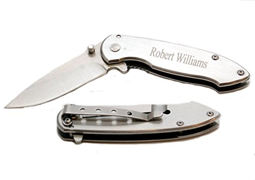 Free Engraving - Stainless Steel Brushed Silver Pocket Knife