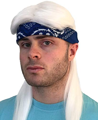 Hisilli 2 pc. Premium White Mullet Rocker Wig + Blue Bandana: 80s Rockstar Wig 90s 70s 80s Wigs for Men Women Kids Adults Kid's Rocker Costumes Rock Star 80's Wigs Halloween Mens Rock Wigs Rockstar Costume,One Size -