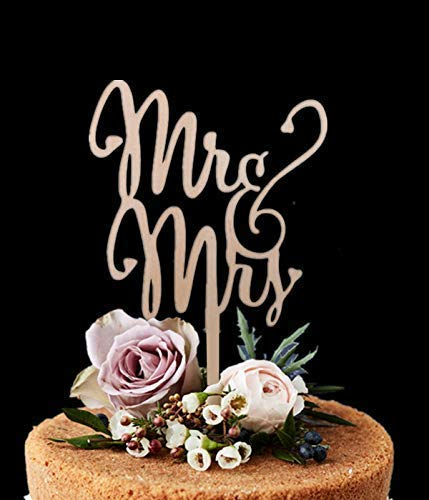 (Giga Gud Mr Mrs Wood Cake Topper Birthday Cake Topper, Wedding Reception,Wedding Cake)