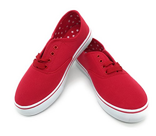 EASY21 Women Canvas Round Toe Lace Up Flat Sneaker Oxford Boat Shoe,Red,Size 7