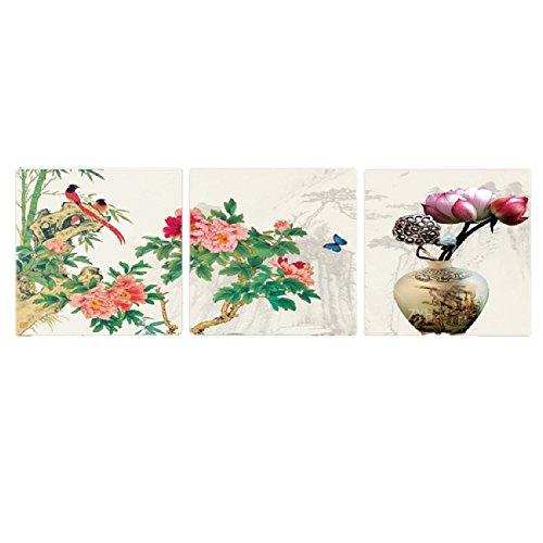 壁掛け アートパネル 【AP003 和柄 鳥と花 60×60㎝×3パネルセット】12㎜キャンバス 印刷布製 キャンバスアート 壁飾り B07DR7CQFB 14988 12mmキャンバス|60×60㎝ 60×60㎝ 12mmキャンバス