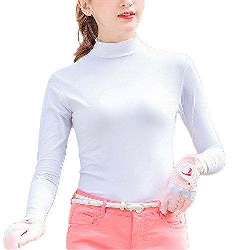 どこかダーツ外向きレディース UVカット 接触冷感 長袖 ハイネック tシャツ 紫外線対策 速乾 吸汗 ストレッチ 通気 日焼け止め ゴルフ テニス トラベル アウトドア スポーツ