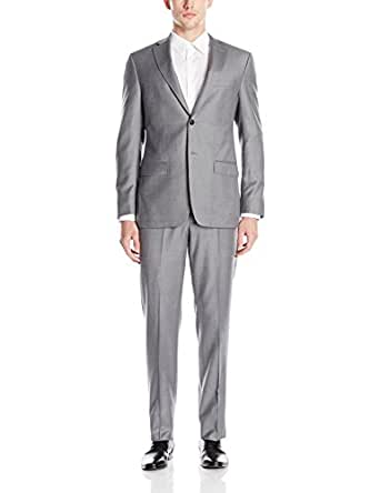 DKNY Men's Dasper Single Breasted Two Button Notch Lapel Slim Fit Suit, Grey, 36 Short