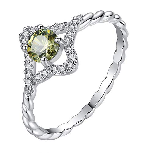Haluoo 925 Sterling Silver Engagement Ring Green Amethyst Filled Ring Halo Solitaire CZ Eternity Wedding Band Twist Cocktail Jewelry Simulated Gemstone Promise Statement Ring Size 6-9 (7, Silver)