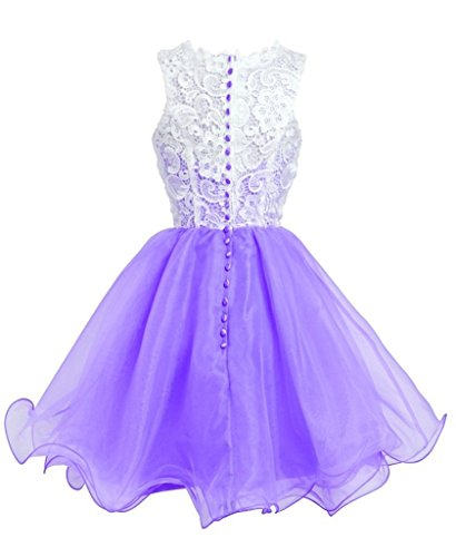 FAIRY COUPLE Princess Floral Lace Tulle Sweet 16 Cocktail Homecoming Graduation Party Dress D0250 (US10, Lavender) by FAIRY COUPLE