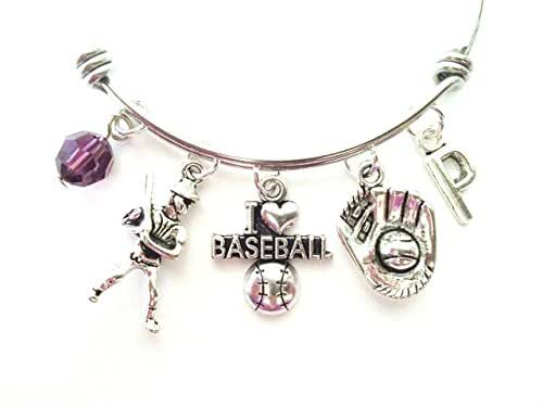 Baseball themed personalized bangle bracelet. Antique silver charms and a genuine Swarovski birthstone colored element.