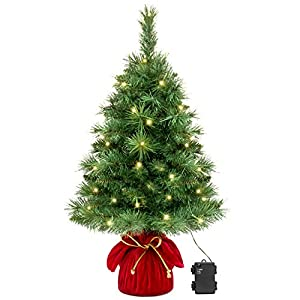 Best Choice Products 26in Pre-Lit Tabletop Fir Artifical Christmas Tree Decor w/ 35 Warm White LED Lights, Timer - Green 2