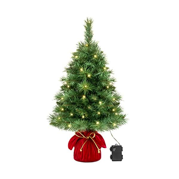 Best-Choice-Products-26in-Pre-Lit-Tabletop-Fir-Artifical-Christmas-Tree-Decor-w-35-Warm-White-LED-Lights-Timer-Green