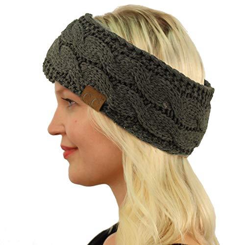 (Winter Fuzzy Fleece Lined Thick Knitted Headband Headwrap Earwarmer Solid Dk. Melange Gray)