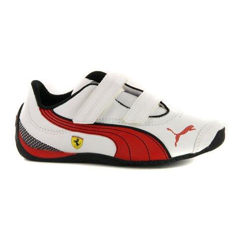 PUMA Boys Drift Cat III Ferrari White Leather Strap Motorsport Sneakers 2 US 61ed0defd8545
