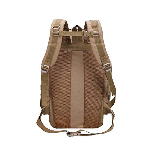 Xin.S55L Gran Capacidad Al Aire Libre Mochila Ventiladores Militares Tactical Alpinismo Bolsa Deportes Viajes Mochila Impermeable Mochila Multi-funcional. Multicolor Brown