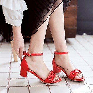 LvYuan Mujer Sandalias PU Semicuero Verano Otoño Fiesta y Noche Vestido Paseo Hebilla Tacón Robusto Blanco Rojo Rosa 2'5 - 4'5 cms White