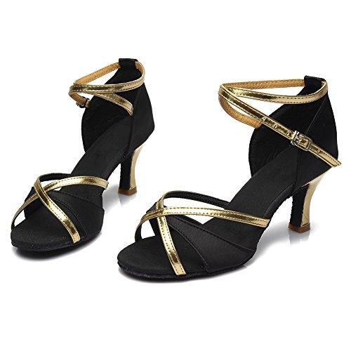 Modelo 5cm 7cm Salsa De Zapatos Hipposeus Gamuza Latino Negro Para Suela Wzsp805 Mujer Baile Tacón 1T7waH