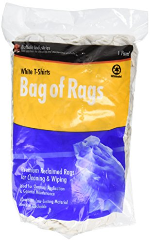 Buffalo Industries (10521) White Recycled T-Shirt Cloth Rags - 1 lb. bag Paint Rags