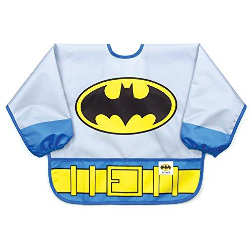 Bumkins DC Comics Batman Sleeved Bib / Baby Bib / Toddler Bib / Smock, Waterproof, Washable, Stain and Odor Resistant, 6-24 Months