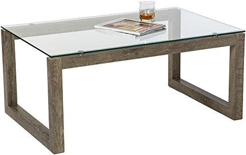 Distressed Oak Coffee Table (Mango Steam Dakota Coffee Table - Blonde Oak - Clear Tempered Glass Top and Distressed Wood Finish)